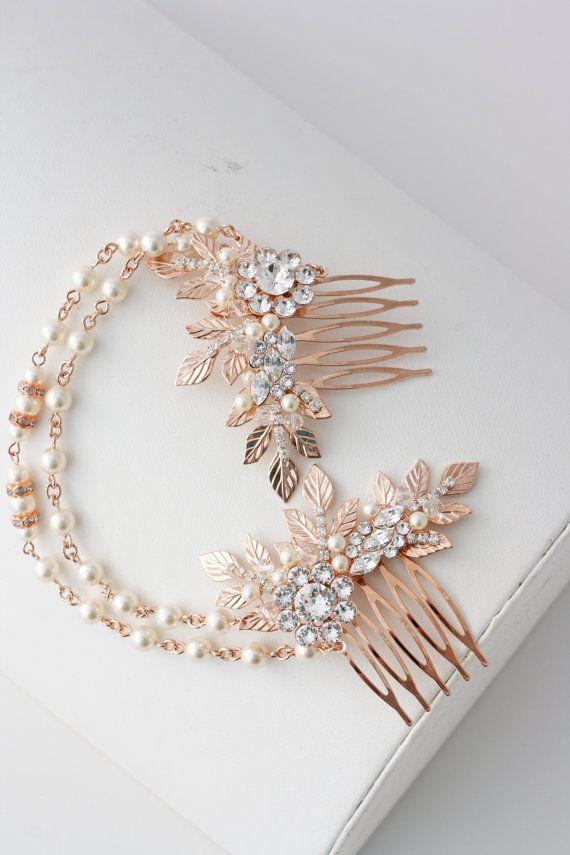 Rose Gold Haar Kette Hochzeit Headpiece Pearl von LuluSplendor
