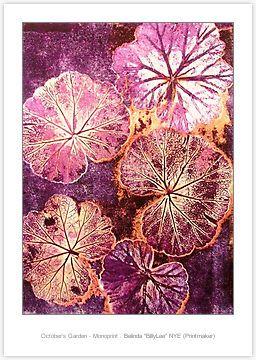 """(""""October's Garden - Monoprint"""" by Belinda """"BillyLee"""" NYE (Printmaker) 14/10/2014)"""