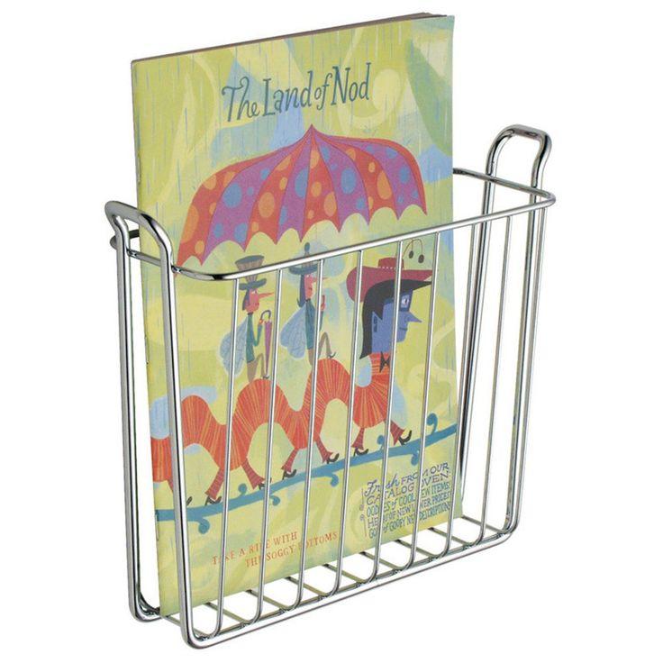 Wall Mount Magazine Newspaper Rack Steel Bathroom Storage Basket Toilet Holder #InterDesign