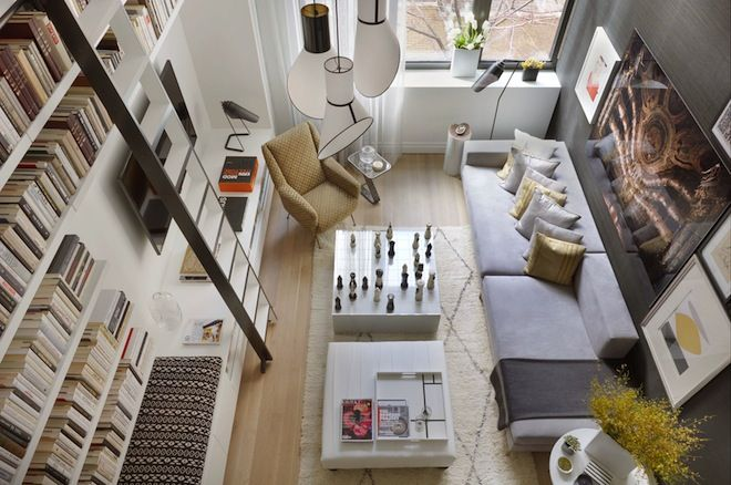 A great picture angle of an even greater living room.  I'm very partial to bookshelves with ladders.