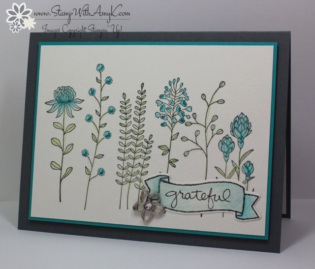 Today I'm sharing a sneak peek at an upcoming stamp set from the 2016 Stampin' Up! Sale-a-bration brochure. I used the Flowering Fieldsstamp set to create my card for the Sunday Stamps SSC115col...