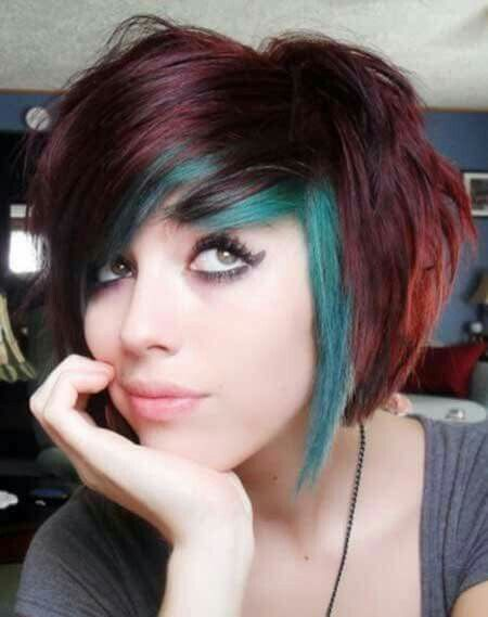 Cute teal and red hair!