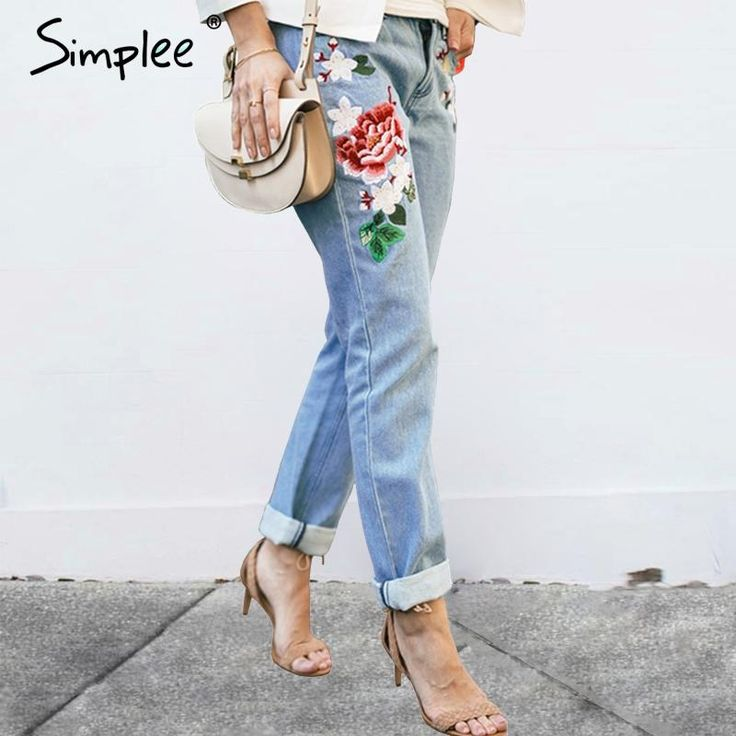 Vintage Floral embroidery denim pants Denim Jeans