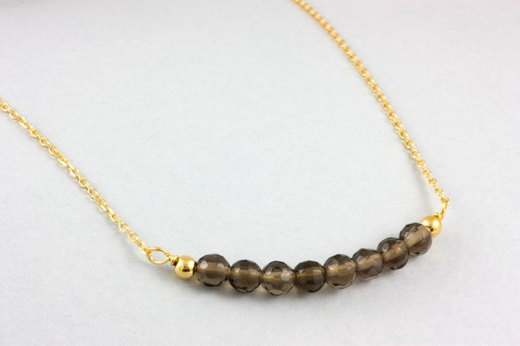 Smoky-Quartz gold necklace, beaded gemstone necklace, delicate pendant, for her by ulalajewels on Etsy