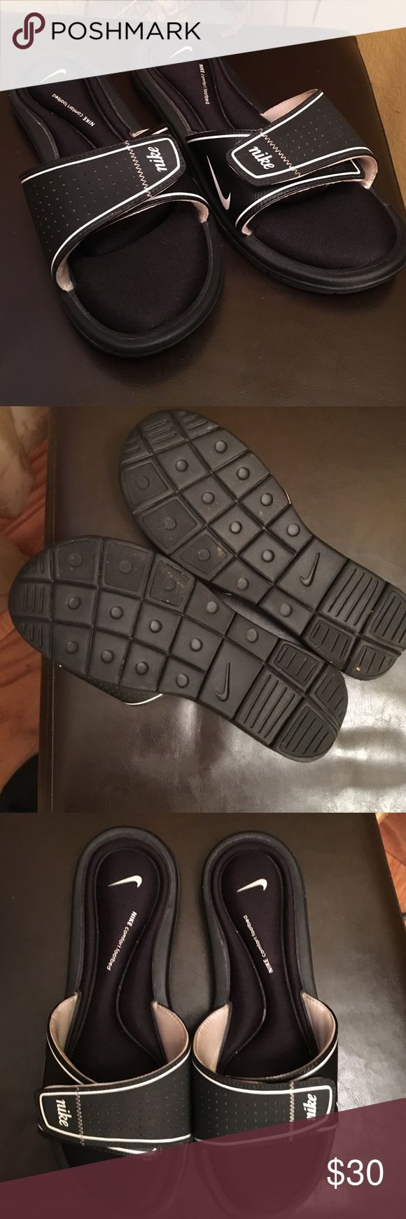 Authentic Nike slippers Authentic Nike slippers SUPER SUPER comfortable wore twice good condition can we can slippers or sandals to the gym or on vacation. Nike Shoes Slippers