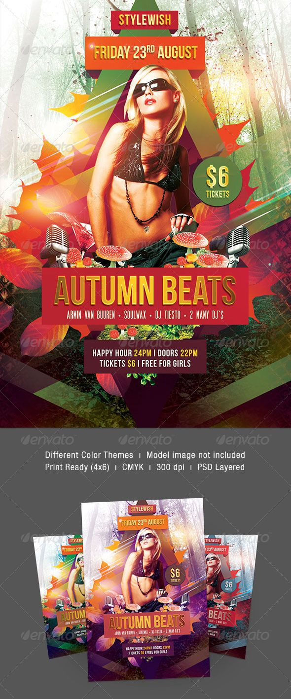 """Autumn Beats Flyer  #GraphicRiver        Autumn Beats Flyer  The PSD file is very well organized in folders and layers. You can modify everything very easy and quick. Changing the color style, pictures and the typo is no problem. The main folders that will require most customization are highlighted in different colors.  PRINT READY : 1275px x 1875px (4×6"""" with .25"""" bleeds), CMYK , 300DPI, .PSD layered  The Model Photo is not included. You can find a link to the image in the download.  The…"""