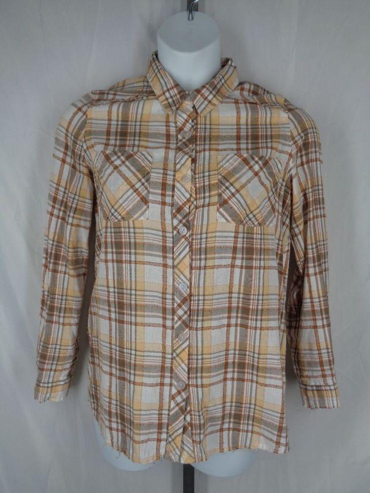 Free People We the Free Park Ranger Yellow Plaid Shirt Size Medium #FreePeople #ButtonDownShirt