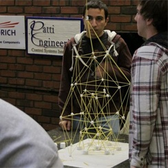 Spagetti and marshmellows (also works with plastacine) Measure the results and the winning team is the one with the tallest.  Obvious links for the tower of bable, as well as all the re-building stories (temples, Jerusalem, wise and foolish builder etc)