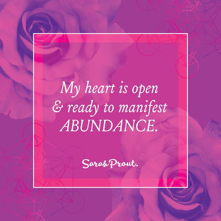 Affirmation: My heart is open and ready to #MANIFEST abundance. #LawOfAttraction…