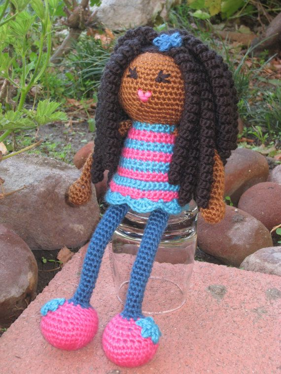 Crochet African Doll With Long Curls Vegan Pink And Blue