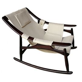 1960s Liceu De Arte Brazilian Rocking Chair  MidCentury Modern, Leather, Wood, Armchair by Adesso Eclectic Imports