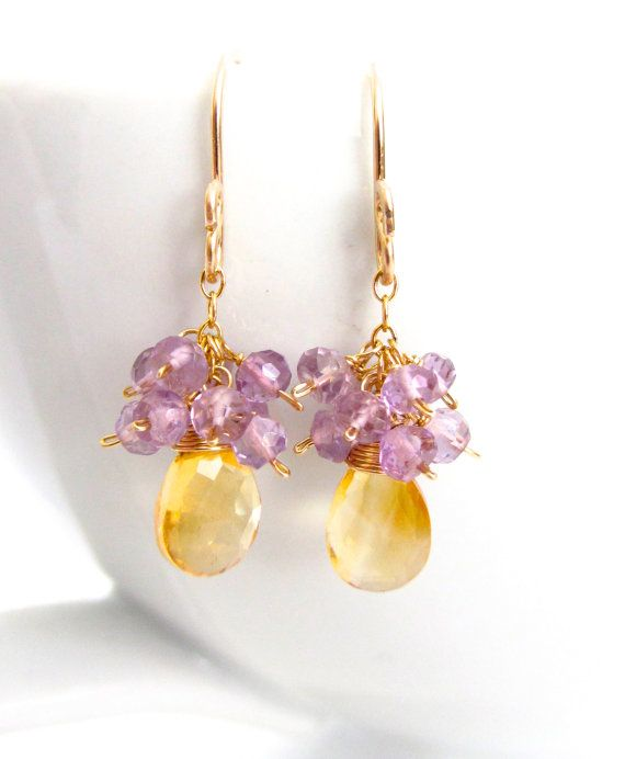 Citrine and Amethyst Earrings - Beautiful little jewels that are super light and airy!
