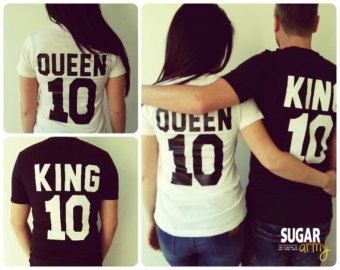 King and Queen shirts matching couple shirts shirts for by sugararmy46 | Etsy