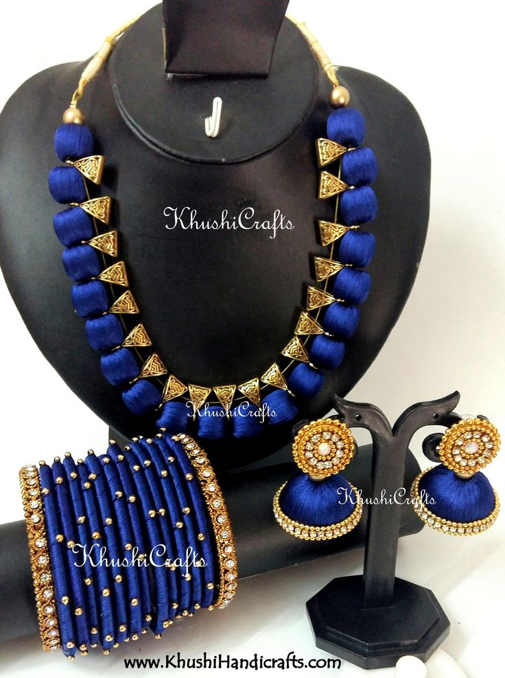 Silk Thread Bridal Collection Necklace set with Bangles in Blue