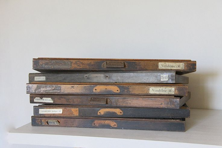 Antique French Letter Press Printer's Tray.  Letterpress drawer, Wooden Printers Tray.  Large, Industrial Loft Decor. by maintenant on Etsy