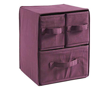 Scatola a 3 cassettini in cotone cotton box melanzana for Idee per casa nuova