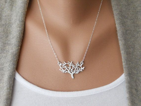 tree: Trees Necklaces, Sterling Silver Chains, Tree Necklace, Trees Of Life, Jewelry, White Trees, Accessories, Delicate Silver, Dainty Trees