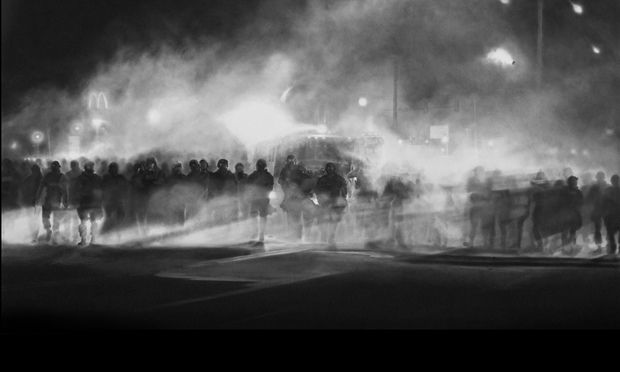 Why Robert Longo's charcoal of police in Ferguson is the most important artwork of 2014