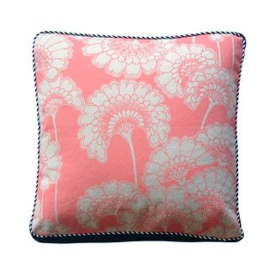 Florence Broadhurst Coral Japanese Flower Square Squab Cushion Cover | Pony Lane