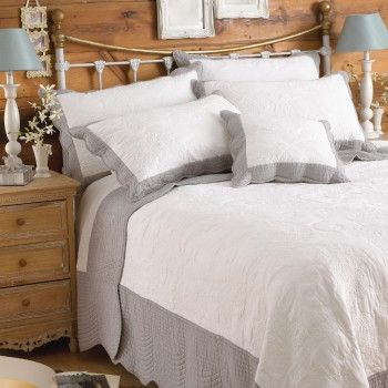 White quilted cotton bed throw with grey border.  Looks great with grey sheets £115.00