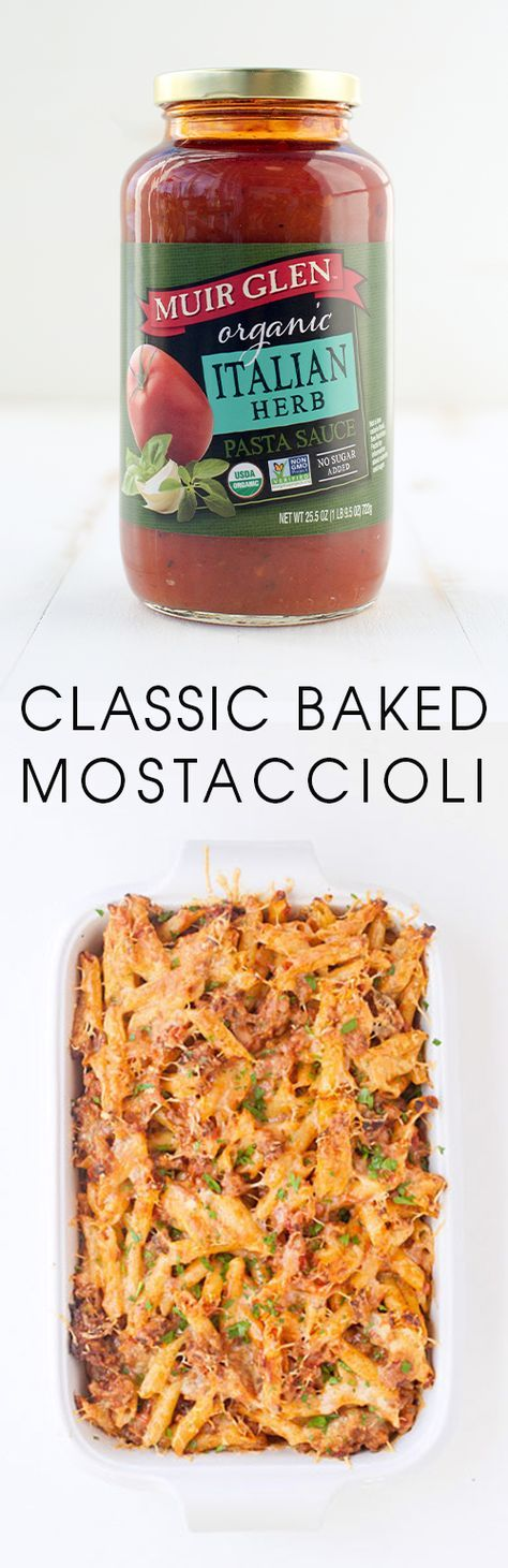 What could be better than Classic Baked Mostaccioli? Endlessly customizable, you can get this Italian casserole on the table in less than an hour. Muir Glen Organic pasta sauce with no added sugar, makes this recipe super flavorful and weeknight-worthy.