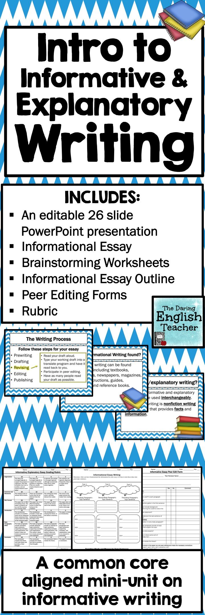 Teach your students about informative and explanatory writing with this CCSS aligned mini-unit. It is ideal for grades 7-10, and it includes an editable, 26 slide PowerPoint presentation, and informative essay handout, peer edit worksheet, and a rubric.