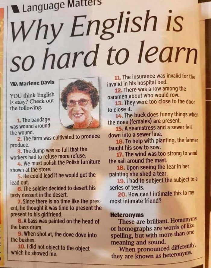Why English Is So Hard To Learn English Words English Vocabulary Words Learn English Words