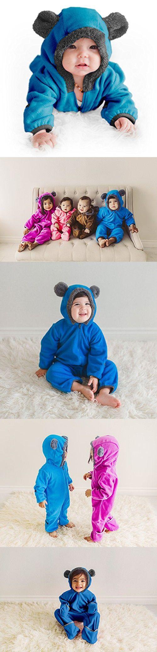 Funzies Baby Bunting Fleece Hooded Romper Bodysuit (3-6 Month, Blue)