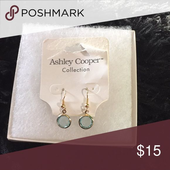 Blue and gold earrings - Ashley Cooper Ashley Cooper dangle earrings. Blue stone with gold wire. New with tag and box. Ashley Cooper Jewelry Earrings