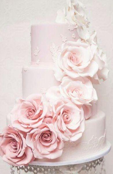 Rose Pink Flower Wedding Cake