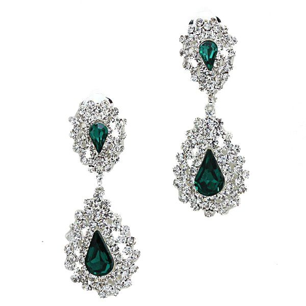 Emerald green diamante clip on teardrop earrings.  Available in lots of other colours from WWW.GlitzyGlamour.co.uk