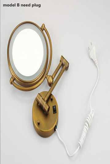 Photo Of Antique Brass LED Light Makeup Mirrors Round Dual Sides X X Mirrors Bathroom
