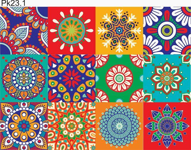 Vinilos Azulejos Autoadh Marroquies Cocina Baño X12u 15x15 - $ 160,00 en Mercado Libre