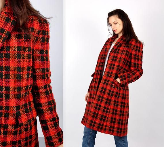 womens red tartan coat