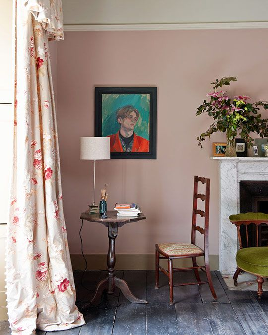 Farrow & Ball paint is Dead Salmon. Drapery fabric is Rosemoore for Warner, by textile designer Richard Smith,