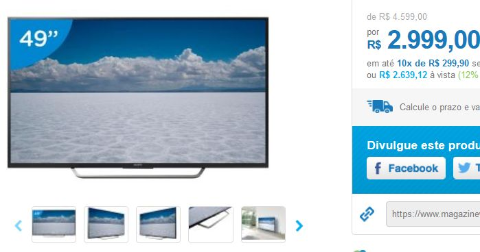 "Smart TV LED 49"" Sony 4K Ultra HD KD-49X7005D Android TV Wi-Fi 4 HDMI 3 USB 49"" << R$ 263912 >>"