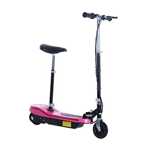Aosom 120W Kids Folding Electric Scooter with Seat and LED Lights  Pink -- You can get additional details at the image link.