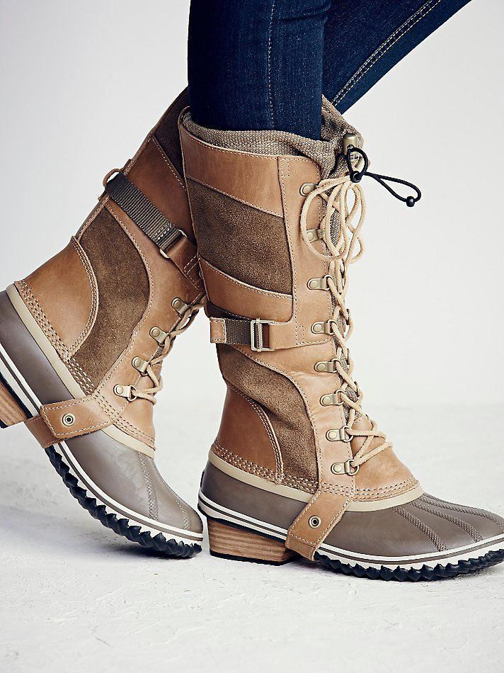 Conquest Carly Weather Boot | Get through any kind of weather in these stylish all weather boots.  Suede and leather body and a durable rubber and textured sole.  Lace-up detailing and a toggle closure at the calf opening.   *Sorel