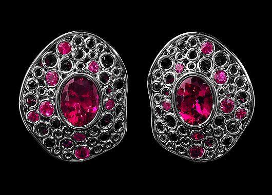 Mousson atelier, collection Bubbles, earrings, Black gold 750, Tourmaline rubellite 4,54 ct., Rubies, Black sapphire