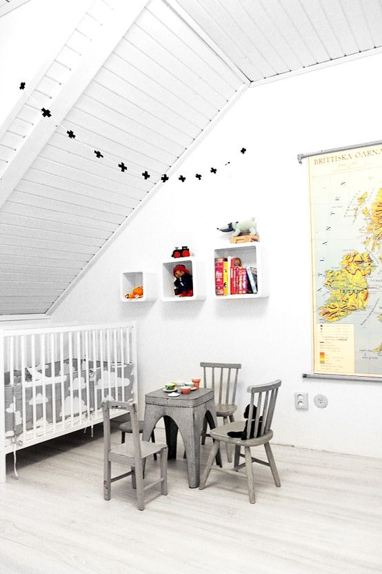 20 Amazing Kids Rooms | Babble. White/grey. Wall display cubes.