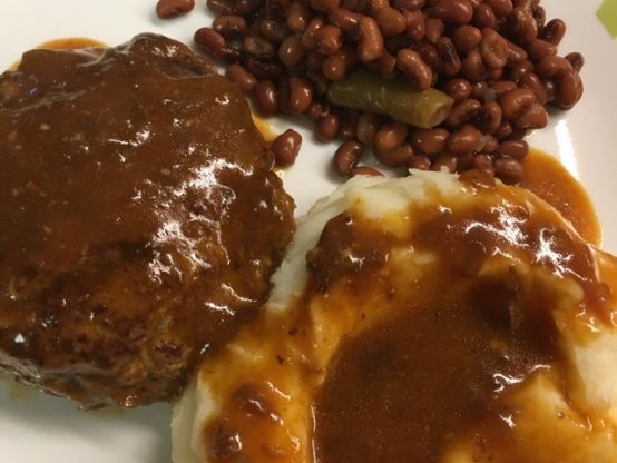 This is our favorite salisbury steak recipe. I always make enough extra sauce to serve over potatoes. Tastes like it took all day to cook.