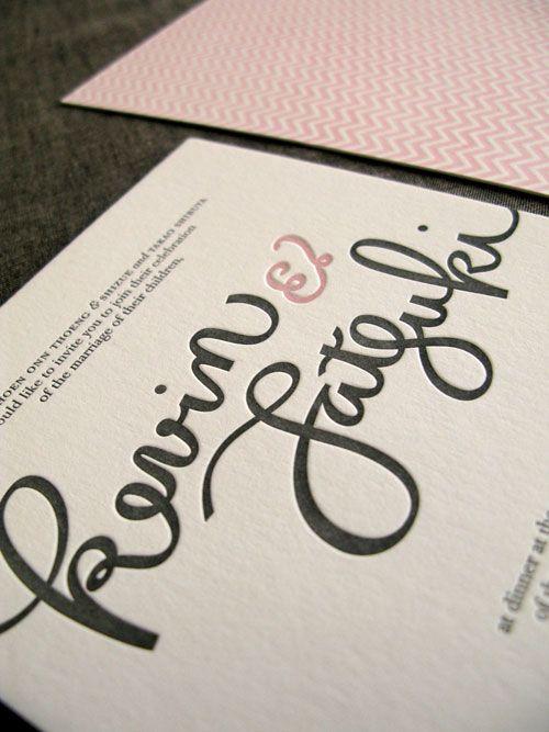 Hand-lettered wedding invites via Invitation Crush