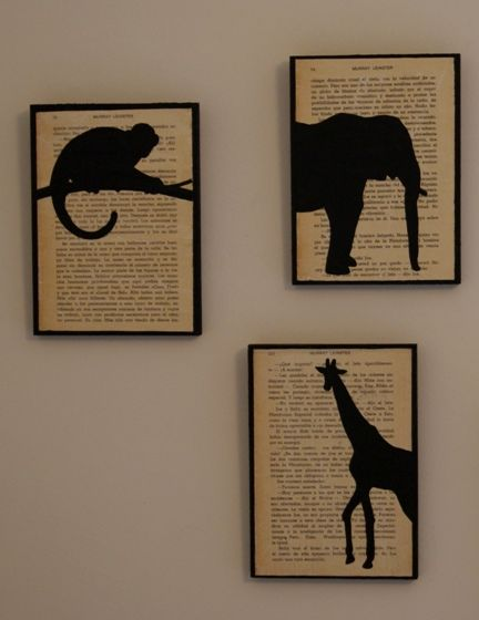 These would be so easy to make - piece of wood painted black, glue old book page on top, then trace outline of animals (or anything really) and paint.: