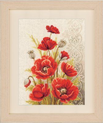 Poppies and Swirls - Cross Stitch Kit
