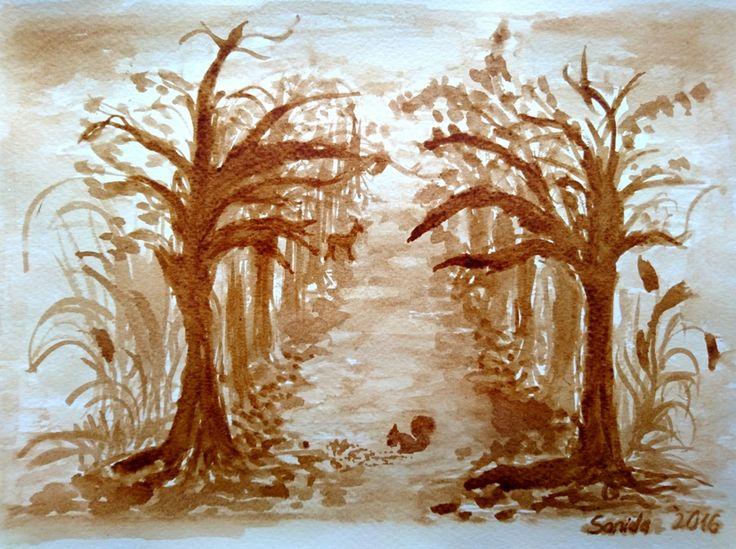 Coffee painting - Autumn  #kavefestmeny #coffeepainting #kaffeemalerei #autumn #herbst