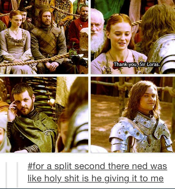 Ned Stark, Loras Tyrell, Sansa Stark, Renly Baratheon Can't stop laughing