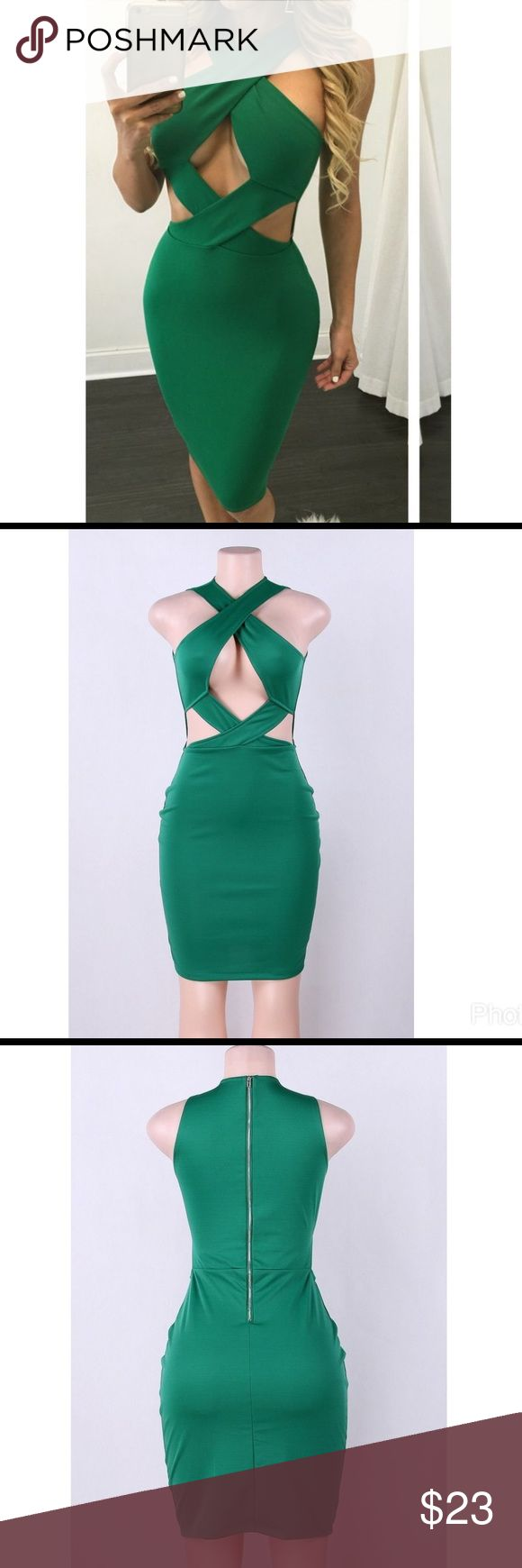 Green Open Breast Bodycon Dress Sexy Green Bodycon Dress...Great for St. Patrick's Day ☘️...Go Green Dresses Midi