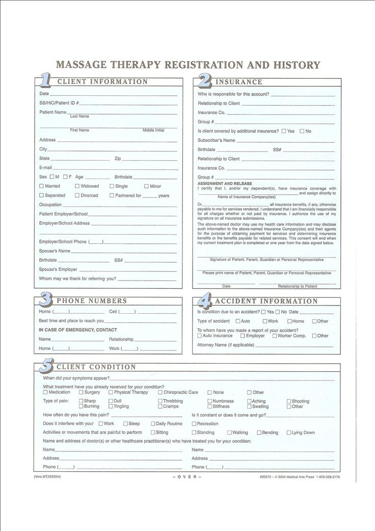 Intake forms My massage room Pinterest Therapy