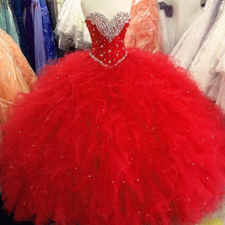 Find More Quinceanera Dresses Information about High Quality Red Ball Gown Quinceanera Dresses 2016 Beaded Crystals Ruffles Sweet 16 Dresses For 15 Years Party Gown QA865,High Quality dress not,China dresses line Suppliers, Cheap dress bubble from Julia wedding dress co., LTD on Aliexpress.com