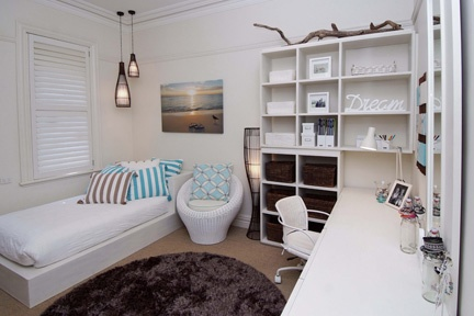 A great place to relax in this beach inspired teenage girls bedroom. http://www.kidsindesignedspaces.com.au/residential/teenproject5
